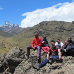 The full team of the mission. From left to right. John, John, David, Mario, Khuram, Brenda and Juliaus. Mt Kenya is 5,199 mt (17,057 ft) high the second highest peak of Africa after Mt Kilimanjaro. The fellows targeted Point Lenana (4,985 metres (16,355 ft).