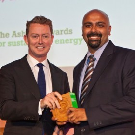 Image: Greg Barker MP, UK with Gyanesh Pandey, Husk Power, India/ Photo credit: The Ashden Awards
