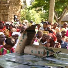 Farmers in Kenya at a community meeting about Western Seed