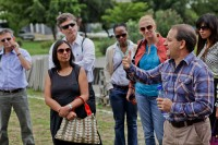 Ross McLean of Dow Chemical at site visit with Acumen Investee, Sanergy