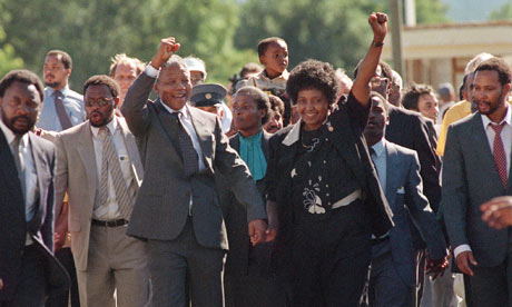 After almost 27 years in jail, Nelson Mandela walks free from Victor Verster prison near Cape Town on 11 February 1990. Credit: Reuters