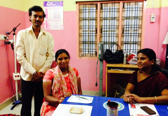 Latha and her husband attend a prenatal checkup